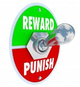 stock photo of levers  - Reward and Punish words on a toggle switch or lever to illustrate disciplining a child - JPG