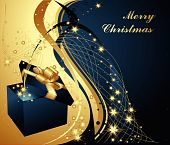image of christmas-present  - Merry Christmas background with present box and stars - JPG