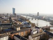 stock photo of frankfurt am main  - Frankfurt city and river Main - JPG