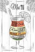 picture of cocktail  - Mai tai  cocktail in vintage style stylized painted on wooden boards - JPG
