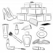 stock photo of shoe-box  - Fashion accessories set - JPG