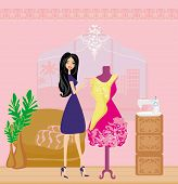 image of dress mannequin  - fashion elegant woman designer and mannequin with a dress  - JPG
