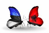 image of albania  - Two butterflies with flags on wings as symbol of relations Estonia and Albania - JPG