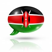 picture of three-dimensional  - three dimensional Kenya flag in a speech bubble isolated on white with clipping path - JPG