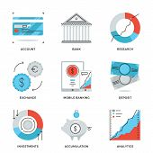 stock photo of money  - Thin line icons of banking account e - JPG