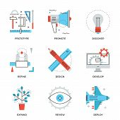 picture of production  - Thin line icons of graphic design production web product development service prototype engineering marketing promotion - JPG