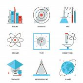image of time study  - Thin line icons of discovery new things planet and universe research science and scientific experiment books knowledge - JPG