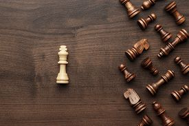 image of uniqueness  - chess uniqueness concept on the wooden background - JPG