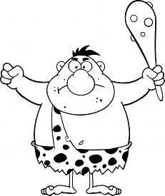 pic of cave-dweller  - Black And White Angry Caveman Cartoon Character Holding A Club - JPG