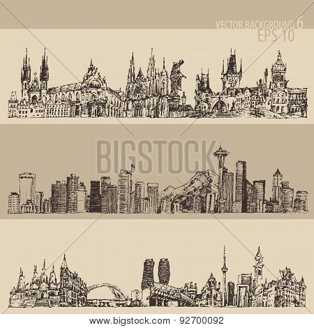 City Set Prague, Toronto, Seattle Vntage Engraved