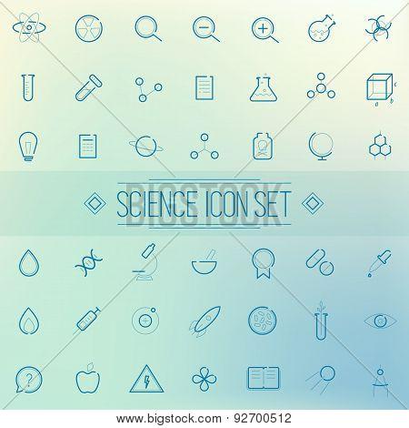 Set Science Physics Chemistry Medicine Trendy Icon