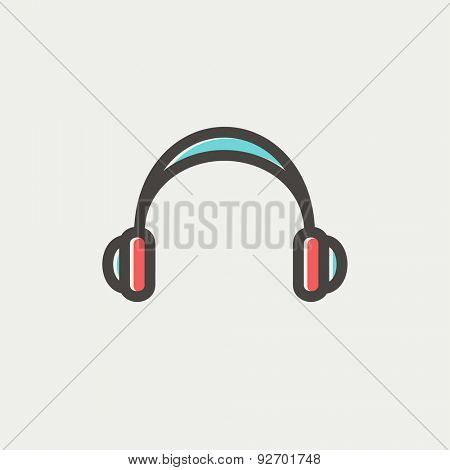 Headphones icon thin line for web and mobile, modern minimalistic flat design. Vector icon with dark grey outline and offset colour on light grey background.