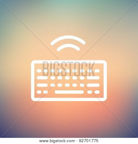 Wifi button in keyboard icon thin line for web and mobile, modern minimalistic flat design. Vector white icon on gradient mesh background.