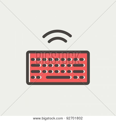 Wifi button in keyboard icon thin line for web and mobile, modern minimalistic flat design. Vector icon with dark grey outline and offset colour on light grey background.