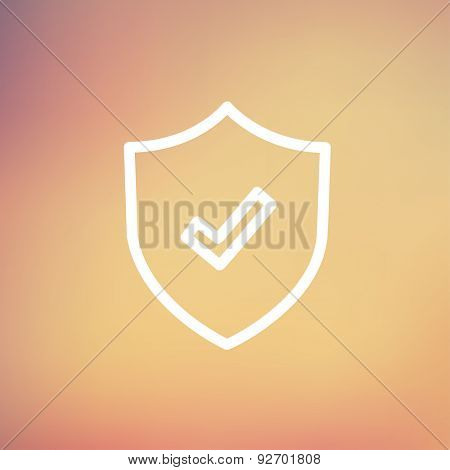 Shield with check mark icon thin line for web and mobile, modern minimalistic flat design. Vector white icon on gradient mesh background.