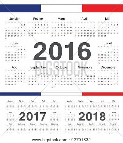 Vector French Circle Calendars 2016, 2017, 2018
