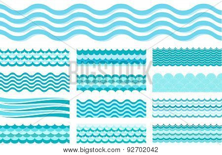 Collection Of Marine Waves. Sea Wavy, Ocean Art Water Design