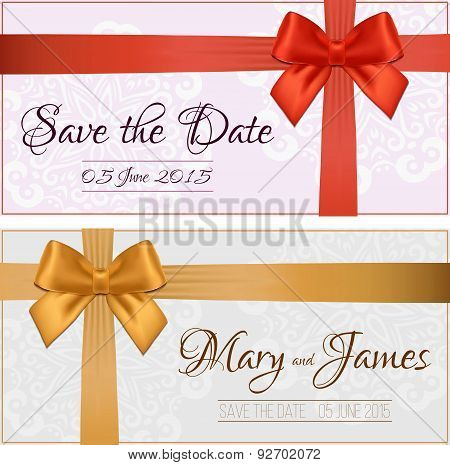 Voucher template with floral pattern, border, red and gold bow and ribbons.