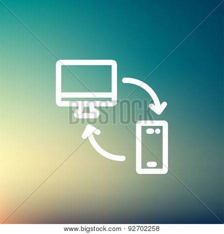 Data transferring from laptop to smartphone icon thin line for web and mobile, modern minimalistic flat design. Vector white icon on gradient mesh background.