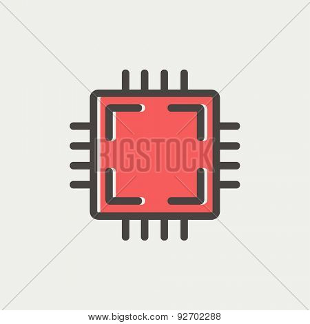 CPU icon thin line for web and mobile, modern minimalistic flat design. Vector icon with dark grey outline and offset colour on light grey background.