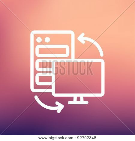Personal computer set. CPU Central processing unit icon thin line for web and mobile, modern minimalistic flat design. Vector white icon on gradient mesh background.