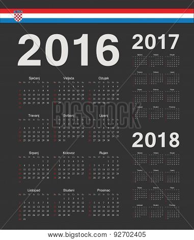 Set Of Black Croatian 2016, 2017, 2018 Year Vector Calendars