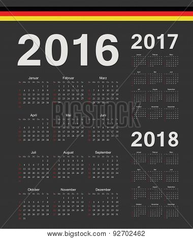 Set Of Black German 2016, 2017, 2018 Year Vector Calendars