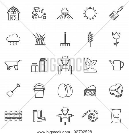 Farming Line Icons On White Background