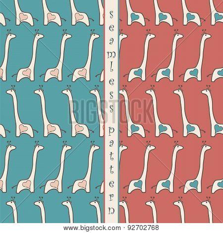 Set Of Seamless Pattern  With Giraffe