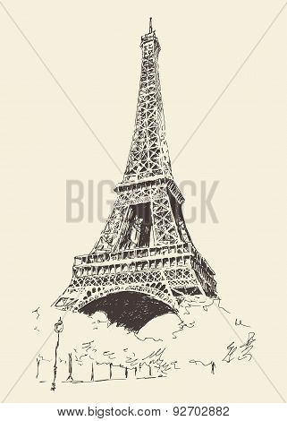 Eiffel Tower Paris France Engraved Hand Drawn