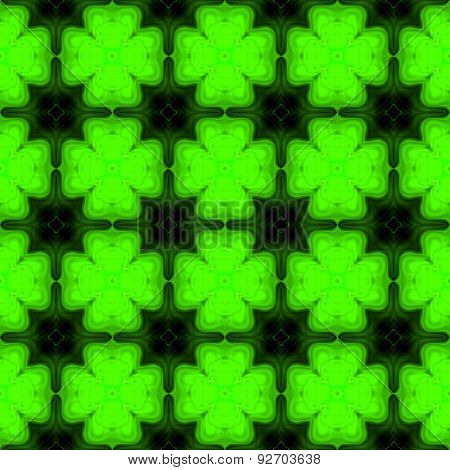 Abstract Symmetric Green Shamrock Texture Made Seamless