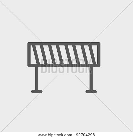 Road barrier icon thin line for web and mobile, modern minimalistic flat design. Vector dark grey icon on light grey background.