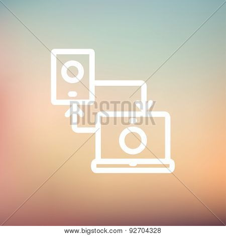 Synchronization smartphone with laptop icon thin line for web and mobile, modern minimalistic flat design. Vector white icon on gradient mesh background.