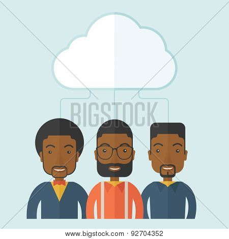 A happy successful Business people group standing under the cloud. A contemporary style with pastel palette soft blue tinted background with desaturateds clouds. Vector flat design illustration