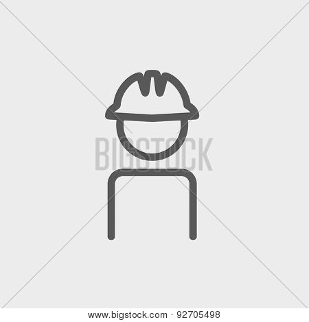 Worker wearing hard hat icon thin line for web and mobile, modern minimalistic flat design. Vector dark grey icon on light grey background.