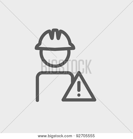 Worker in caution sign icon thin line for web and mobile, modern minimalistic flat design. Vector dark grey icon on light grey background.