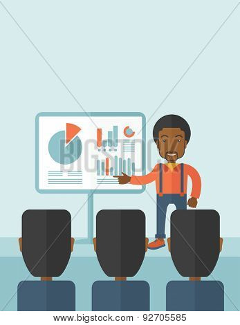 A black guy marketing officer show his business plan to his team. Teamwork concept. A contemporary style with pastel palette soft blue tinted background. Vector flat design illustration. Vertical