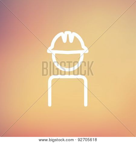 Worker wearing hard hat icon thin line for web and mobile, modern minimalistic flat design. Vector white icon on gradient mesh background.