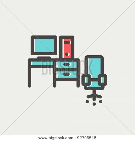 Computer with table and chair icon thin line for web and mobile, modern minimalistic flat design. Vector icon with dark grey outline and offset colour on light grey background.