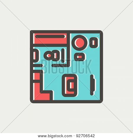 House interior with furniture icon thin line for web and mobile, modern minimalistic flat design. Vector icon with dark grey outline and offset colour on light grey background.