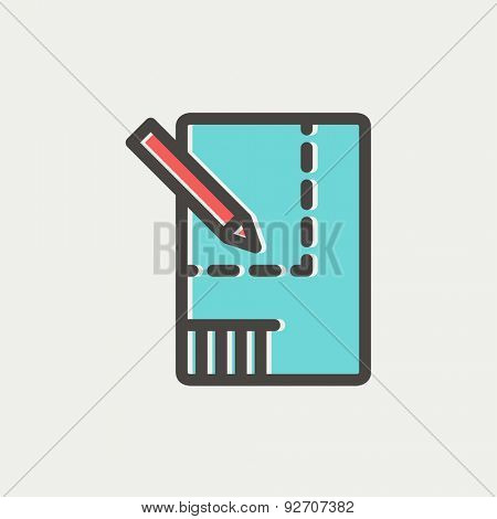 Paper and pencil house sketching icon thin line for web and mobile, modern minimalistic flat design. Vector icon with dark grey outline and offset colour on light grey background.
