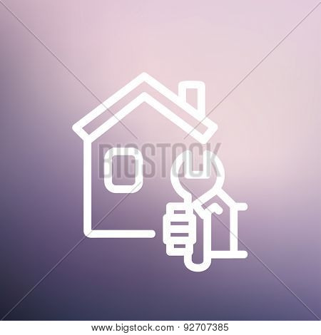 House repair icon thin line for web and mobile, modern minimalistic flat design. Vector white icon on gradient mesh background.