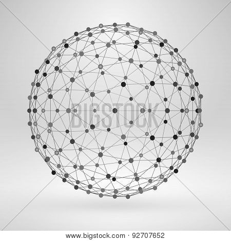 3D Sphere With Lines And Dots. Vector Wireframe Polygonal Element