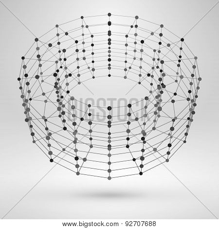 3D Torus With Lines And Dots. Vector Wireframe Polygonal Element
