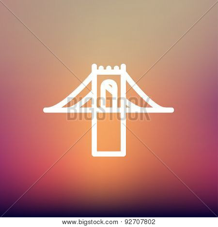Bridge icon thin line for web and mobile, modern minimalistic flat design. Vector white icon on gradient mesh background.
