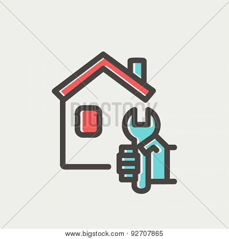 House repair icon thin line for web and mobile, modern minimalistic flat design. Vector icon with dark grey outline and offset colour on light grey background.