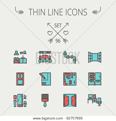 Construction thin line icon set for web and mobile. Set includes - pipeline, structure, door, window, appliances, furnitures, interiors, paintbrush. Modern minimalistic flat design. Vector icon with