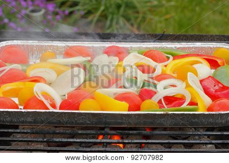 Grill, Grill Pan, Vegetables, Tomatoes, Peppers, Onion Rings