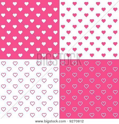 4 Seamless Tiny Hearts Patterns