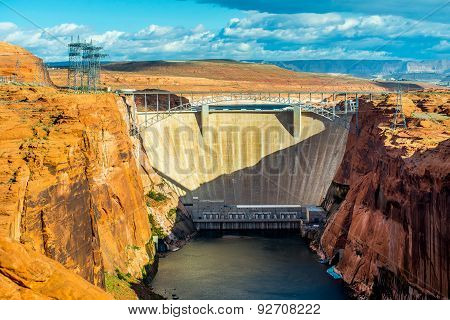 Lake Powell Dam And Bridge In Page Arizona